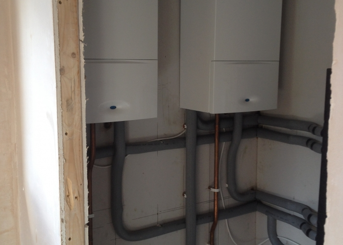 Two linked Worcester Bosch boilers.