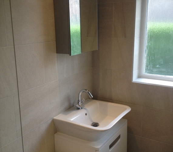 Roca wall hung basin and cabinet.