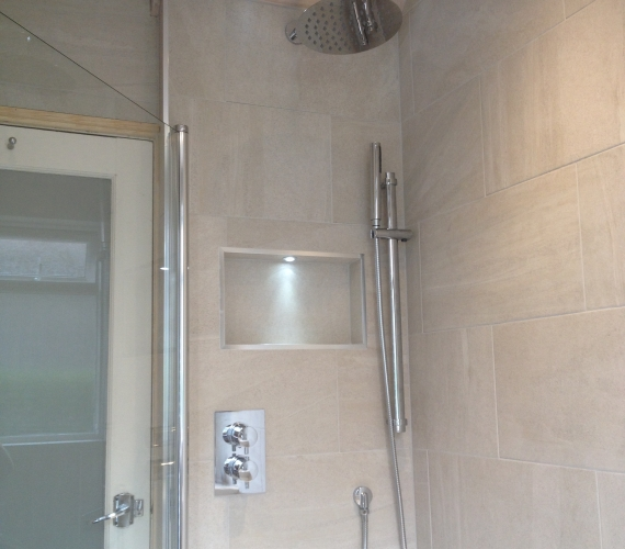 Concealed shower valve - riser rail - fixed shower head - niche boxing with LED deck light.