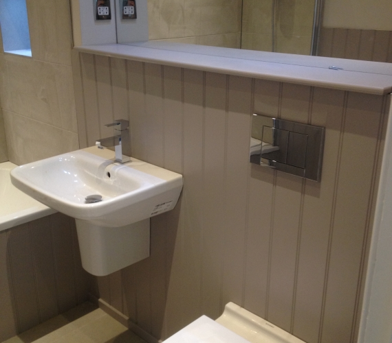 BTW W/C Geberit concealed cistern and flush plate - Wall hung basin and semi pedestal.