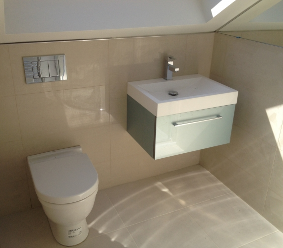 BTW W/C Geberit concealed cistern and flush plate - Wall hung basin and cabinet.
