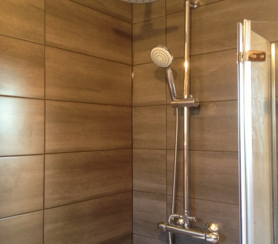 Thermostatic bar shower mixer - Fixed shower head and riser rail.